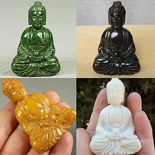 LVYAN Encantador Colgante de Jade Verde Hecho a Mano Tallado Buda Estatua Tallada a Mano Figuras de creencias espirituales coleccionables