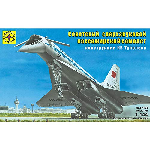 Tupolev Tu-144 Soviet Russian Supersonic Jet Airliner Russian Model Kits Scale 1:144 Assembly Instructions in Russian Language