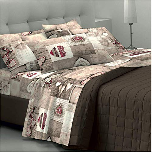Goldenhome - Emma - Juego de sábanas completo para cama de matrimonio2 fundas de almohada + sábana bajera ajustable + sábana encimera