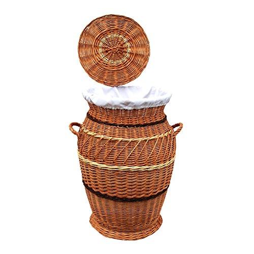 30-70 GalaDis Großer Wäschekorb/Wäschesammler aus Weide geflochten (70 cm) mit herausnehmbarem Einsatz/Innensack und Deckel für die ganze Familie