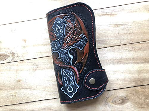 Dragon and Celtic Cross Wallet, Bifold Long Wallet, Biker wallet, 3D Genuine Leather, Hand-Carved, Hand-Painted, Leather Carving Wallet