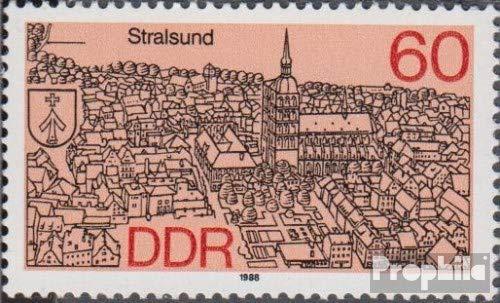 Prophila Collection DDR 3164I, Linie über D gebrochen (Feld 16) 1988 Stadtansichten: Kreisstädte im Nord...