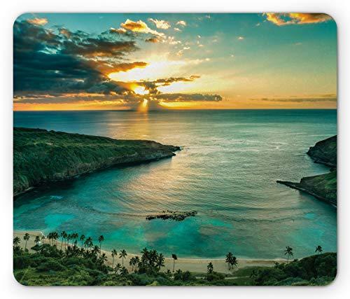 Ambesonne Hawaiian Mouse Pad, Sunrise Over Hanauma Bay Oahu Hawaii Sunbeams Through Clouds Shoreline, Rectangle Non-Slip Rubber Mousepad, Standard Size, Green Orange