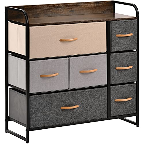 YOURLITE 7-Drawer Dresser, Fabric Chest of Drawers with Wood Top & Metal Frame, Easy-Install, Large Storage Space Storage Organizer Unit for Bedroom, Living Room, Nursery Room, Hallway (Brown)