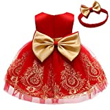 TUIJI Formal Prom Pageant Wedding Girls Dresses A-line Knee Length Tutu Ruffle Dress Princess Party Baby Ball Gown Dress 3T 4T Red Gold 110