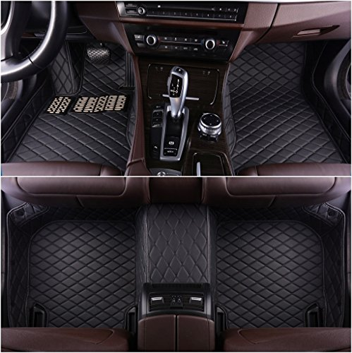 OkuTech Custom Fit XPE-Leather All Full Surrounded Waterproof Car Floor Mats for Lexus is 250C 350C 2 Door Coupe 2010-2015,Black with Black Stitching