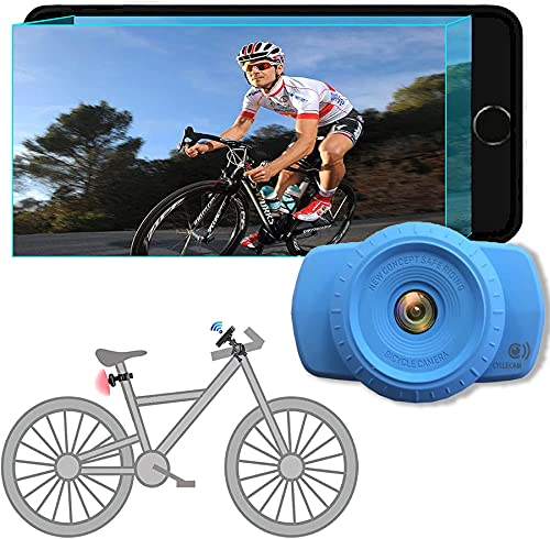 GAOFG Bike Mirror Smart Wi-Fi Bicycle Mirror, Rear View Camera 120° Wide Angle View, 180° Adjustable Rotatable Bracket, Suitable for Bicycle, Mountain, Road Bikes, Motorcycle,Blue