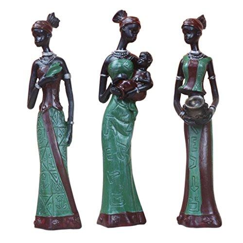 SGerste 3-Satz Stehende Afrikanische Figur Skulptur Tribal Lady Figur Statue Sammlerstück–Grün, wie beschrieben