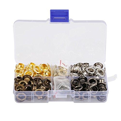 Ösenwerkzeug-Set, 140-teiliges Set, 8 mm Innendurchmesser, Messing-Ösen, Set für Leinwand, Kleidung und Leder, selbsthaftende Unterlegscheibe