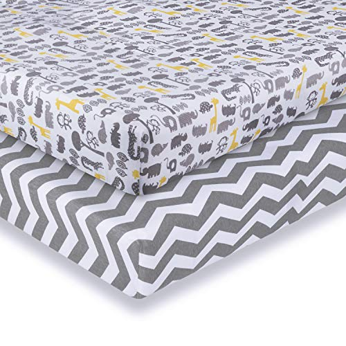 Cot Bed Sheets Fitted 2-Pack 120x60x15 cm to 140x70x15 cm, Momcozy Cotton Crib Mattress Sheet Mattress Protector for Baby Toddler, Fit Mother Nurture