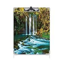 3 dパターンの クリップボード アルファベット 滝 答案用紙入れ トルコの妖精湖の木の滝のシュールなイメージ東洋の自然マルチ