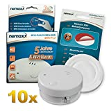 10x Nemaxx mini-FL2 Smoke detector - high quality & discreet Mini smoke detector with lithium battery - according to DIN EN 14604 + Nemaxx NX1 self adhesive fixing pad