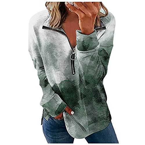 QIUTIANQ Camiseta Manga Larga con Cremallera De Solapa De Moda para Mujer Top Suelto con Estampado De Ramo En La Cintura Adecuado para Vestidos Casuales Diarios Y Cualquier Ocasió (Verde, XL)