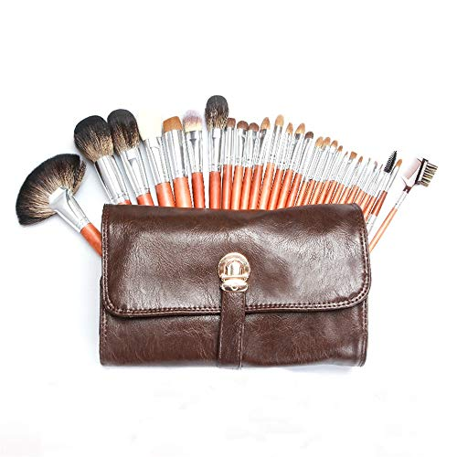 Juego De Brochas De Maquillaje Fuerte abarca 28 súper blando animal Pelo de caoba imitación de manijas de pestañas Curl de cepillo del maquillaje de la belleza del sistema de herramienta. Adecuado Par