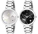 IIK Collection Round Dial Stainless Steel Bracelet Chain Analogue Day & Date Functioning Watch for Women and Girls (Pack of 2)