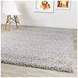 A2Z Rug Pera Shaggy Luxury Super Soft 5 cm  Pile Thickness 120 X 170 cm  - 3'9'' X 5'6''ft Plain Silver Grey Shag Small Area Rugs