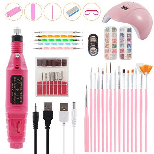 Achort Nägel Set, 36W UV LED Nagellampe Starterset für Gel-Nägel Elektrisches Nagelbohrset mit Gel-Nagelbürste Punktierwerkzeuge Professionelle Nail Art Tools Zubehör für Mädchen Frauen