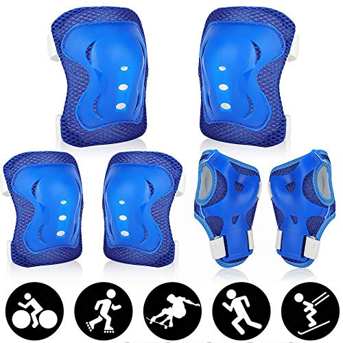 Gohytal Protezioni Skateboard Bambini, Set Ginocchiere Gomitiere per Bambini, 6 in 1 Protezione Kit per Bambini Regolabile per Bicicletta, Monopattino, Ciclismo, Sci, Pattinaggio