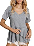 SOFIA'S CHOICE Women Peplum Tops V Neck Loose Fit Short Sleeve Pleated Tee Shirt Dark Grey