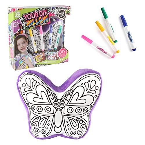 AKlamater Wendekissen für Mädchen, doppelseitig, Regenbogenfarben, mit Pailletten, zum Selbermalen, handbemalt, Weiß 2