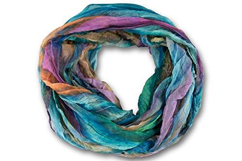 fashionchimp ® Loop Schlauchschal für Damen mit Feder-Muster in Batik Style, Crash and Crinkle, Seide (Türkis-Bunt)