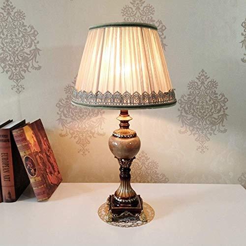 LLLKKK Lámpara de mesa europea pastoral, protección del medio ambiente, resina, E27, lámpara de rosca, para la boca, tallada a mano, iluminación decorativa para el estudio, el salón o el dormitorio