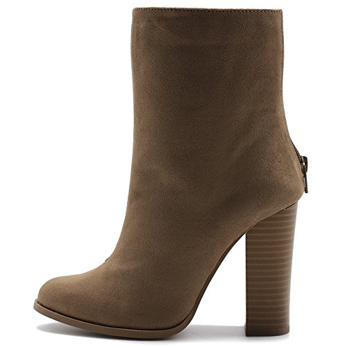 Ollio Women's Shoe Faux Suede Back Zip Up Stacked High Heel Ankle Boots SSB05(8.5 B(M) US, Taupe)