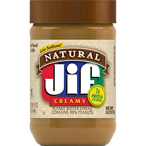 Jif Natural Creamy Peanut Butter 16 Ounces Pack of 12 7g 7% DV of Protein per Serving Smooth Creamy Texture No Stir Natural Peanut Butter