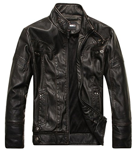 Men's With Leather Jackets Black Hair