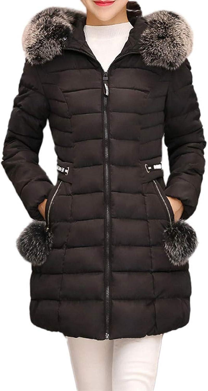 Laimeng_World Women Hooded Warm Outerwear Winter Coat Long Thick Coats Fur Collar Cotton Parka Slim Jacket