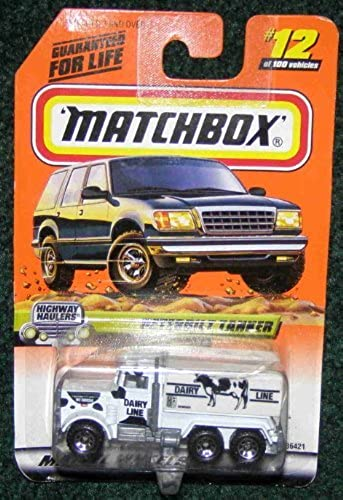 MATCHBOX 1999  12 HIGHWAY HAULER SERIES blanc W  noir SPORTS DAIRY LINE PETERBILT TANKER TRUCK by Matchbox by Matchbox
