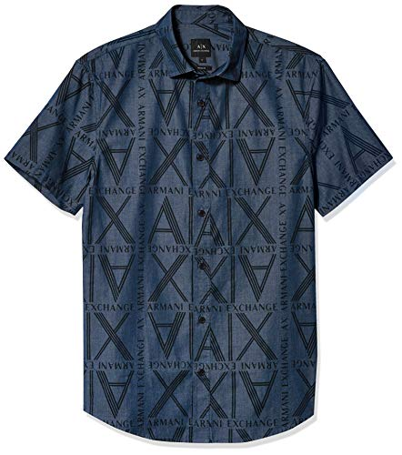 Armani Exchange AX Herren Regular Fit Squared Logo Print Denim Short Sleeve Woven Hemd, Indigoblau, X-Groß