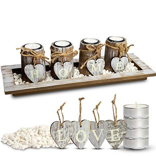 Bella O\'Blue Kerzenständer für Teelichter I Teelichthalter Tischdeko I 4 Kerzenhalter in Dekoschale mit Deko Herz, Dekosteine weiß I Home + Love