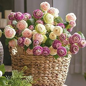 3 Heads Roses Lotus Artificial Silk Flower Living Room Flower Arrangement Bouquets 5pcs