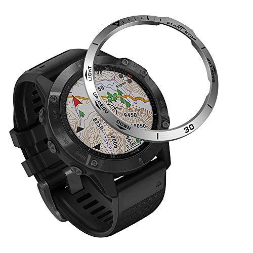 KOMI Anillo de bisel compatible con reloj inteligente Garmin Fenix 6/6 Pro, acero inoxidable, protección antiarañazos, bisel de estilo adhesivo, círculo (B04)