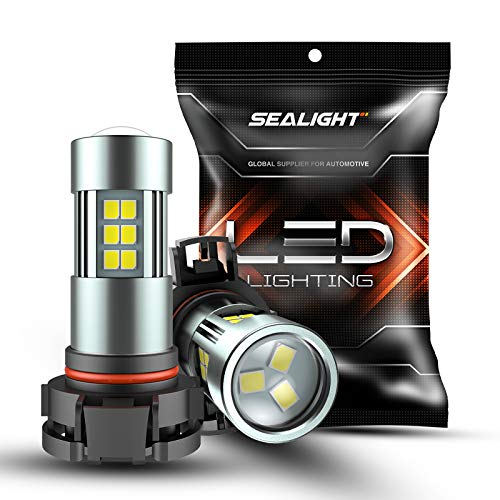 SEALIGHT 5202 LED Fog Lights Bulbs Xenon White 6000K Daytime Running Lights 2504/H16 TYPE 1(European Type Not for Japan Vehicle)/PSX24W/9009 27 SMD Chips, Pack of 2