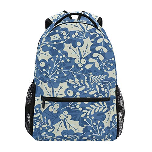 Winter Christmas Holly Leaves and Berries Printed Backpack Student Lightweight Personalized School Bag
