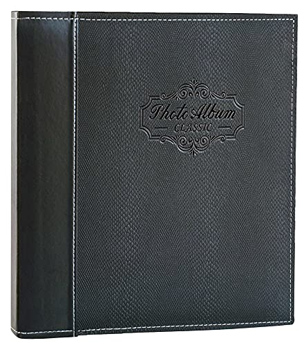 Photo Album Self Adhesive Scrapbook Album - Premium Leather Cover Double-Side Page Albums Hold Vertical and Horizontal Photos for 4x6, 5x7,6x8,8x10,etc (Black)