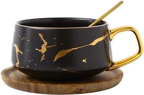HYOUH Tasses /à caf/é avec soucoupes Ensembles de th/é Tasse et Soucoupe Tasse /à caf/é Tasse /à th/é Cadeau de Mariage d/écor de f/ête d/écor Noir Or