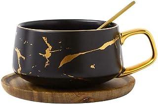 YBK Tech Ensemble tasse à thé en porcelaine pour thé de l'après-midi – Motif marbre (noir, court 300 ml + soucoupe en bois)