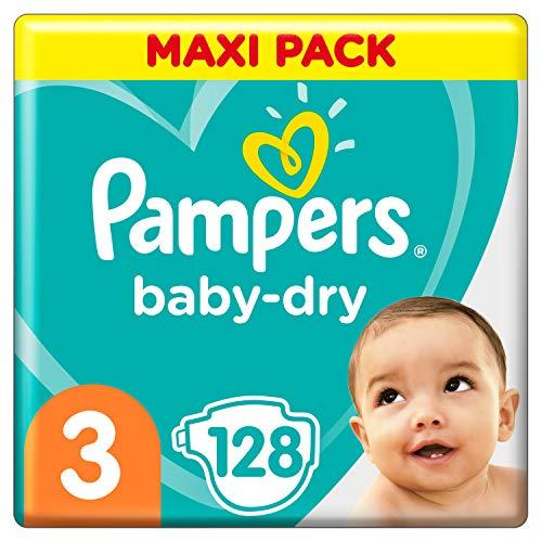 Pampers Baby-Dry Windeln, Gr. 3, 6kg-10kg, Dreier-Pack (1 x 128 Windeln)