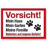 Komma Security Vorsicht Hund Mein Haus Garten Familie - Hunde Kunststoff Schild Hinweisschild Grundstück mehrsprachig Shepherd - Türschild Haustüre Warnschild Einbruchschutz - Achtung Hund