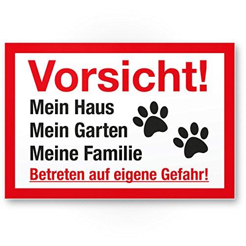 Vorsicht Hund Mein Haus, Garten, Familie - Hunde Kunststoff Schild, Hinweisschild Grundstück mehrsprachig Shepherd - Türschild Haustüre, Warnschild / Einbruchschutz - Achtung Hund