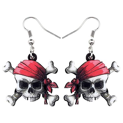 HBHBS Pendientes De Calavera Pirata De Anime De Acrílico De Halloween Drop Dangle Fashion Punk Jewelry para Mujeres Niñas Adolescentes