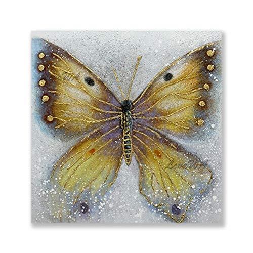 ZNYB Cuadros para Colorear Adultos Cuadro de Lienzo de Mariposa Pintado a Mano Pintura al óleo de Animales Arte Colgante de Pared sobre Lienzo para habitación de niños artículo Decorativo