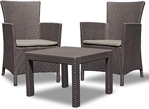 Allibert Rosario Balcony, Set di mobili da giardino, da 2 poltrone e 1 tavolino in plastica, simil-vimini, cuscini, colore antracite (P P Antracite)