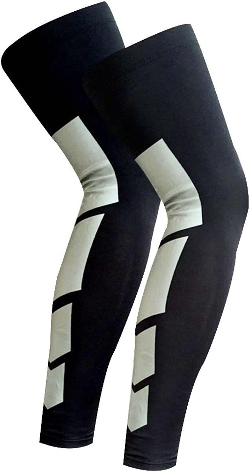 Recovery Compression Leg Sleeves (Pair)  Sport Football Basketball Cycling Strech Leg Knee Long SleeveBlack