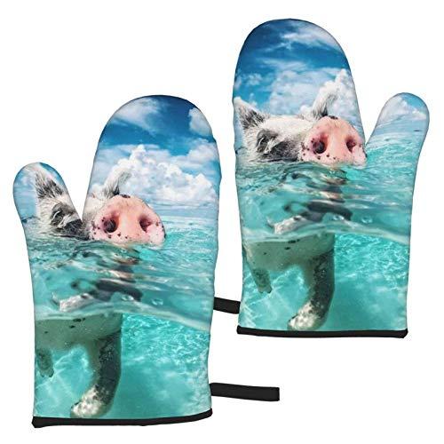 AEMAPE Cuentas de natación Mitones para Horno 2 uds Guantes de microondas - Guantes de Horno Resistentes al Calor con asa Antideslizante para Colgar en la Parrilla para Hornear a la Parrilla