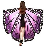 OVERDOSE Frauen 197 * 125CM Weiche Gewebe Schmetterlings Flügel Schal feenhafte Damen Nymphe Pixie Kostüm Zusatz Faschingskostüme Erwachsene Für Show (197 * 125CM, B-Lila(168 * 135CM))