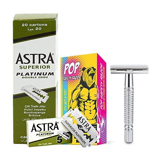The Goodfellas' smile ASTRAPOP 100 Astra Blades double edge with POP Safety Razor - SET,